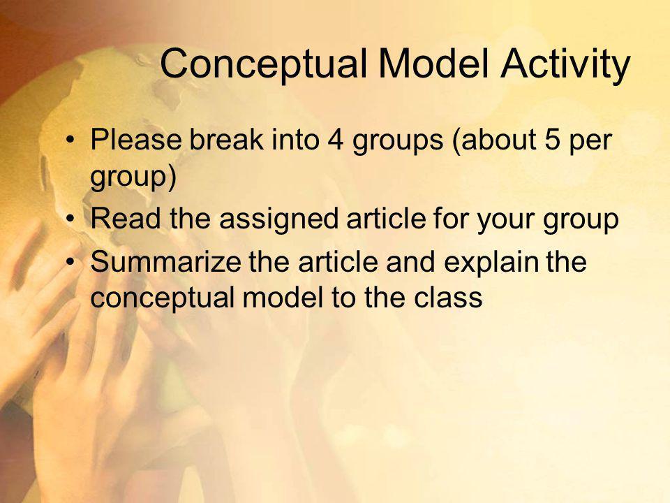 Conceptual Model Activity