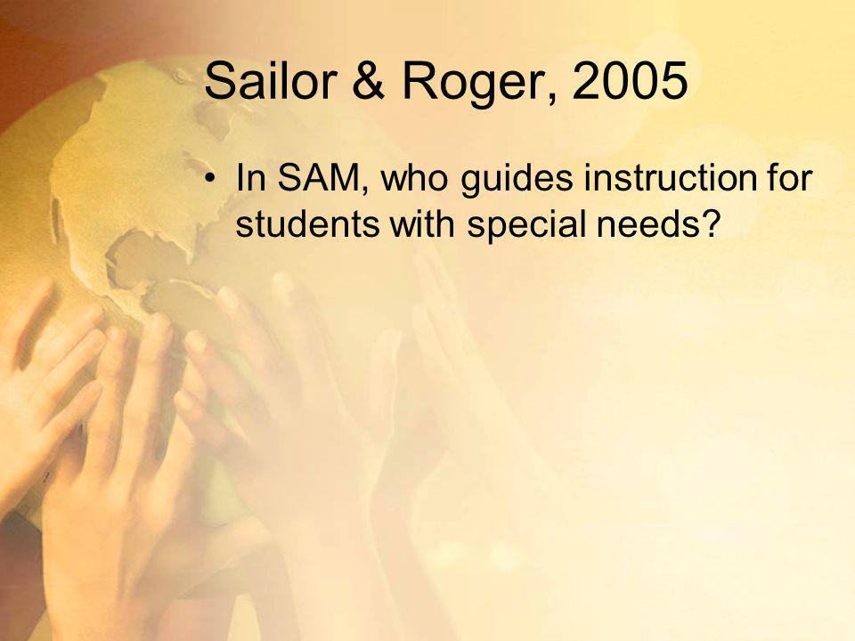 Sailor & Roger, 2005 In SAM, who guides instruction for students with special needs