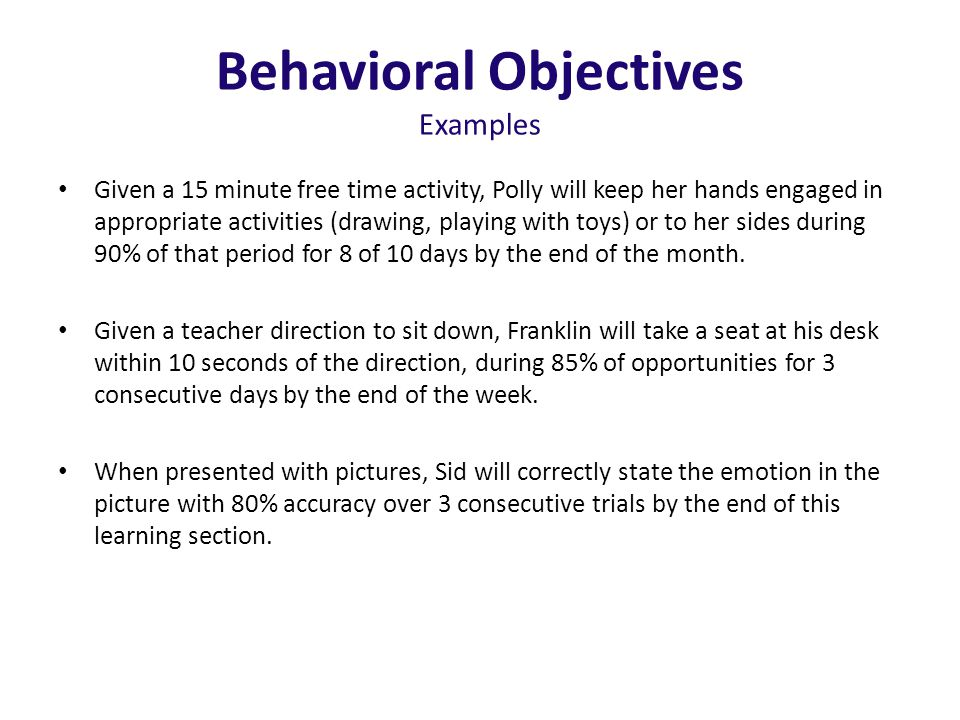Behavioral Objectives Examples