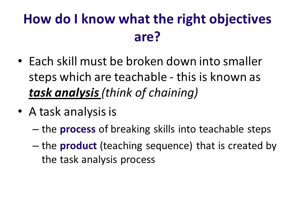 How do I know what the right objectives are