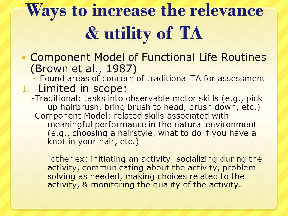 Ways to increase the relevance & utility of TA