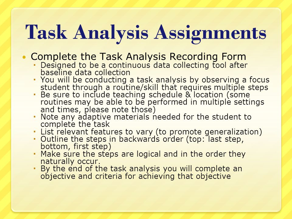 Task Analysis Assignments