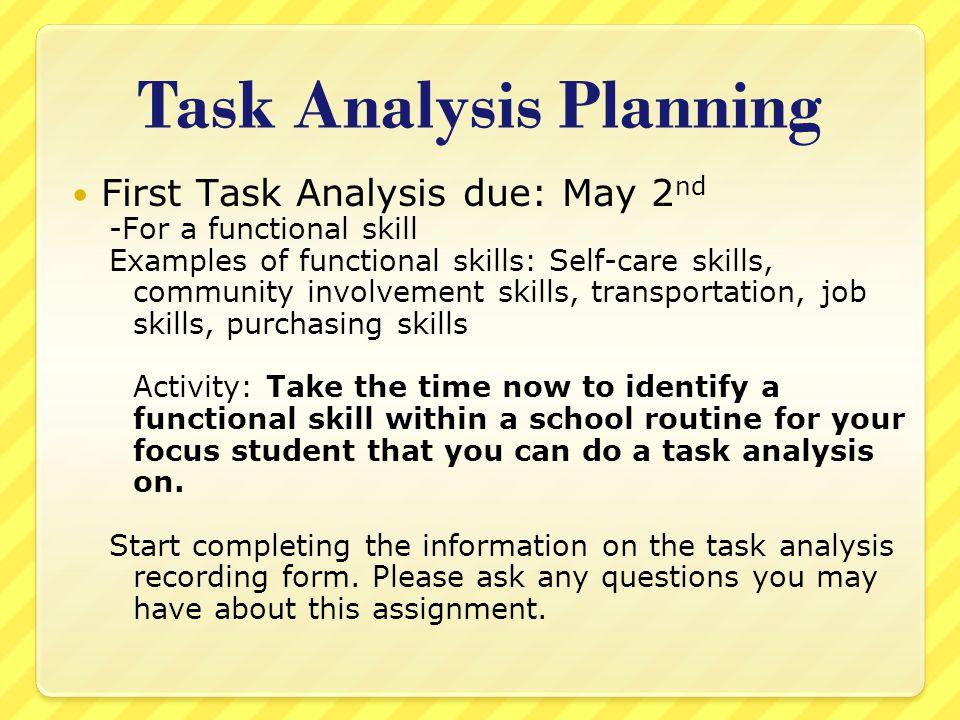 Task Analysis Planning