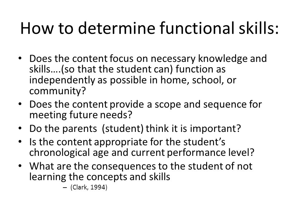 How to determine functional skills: