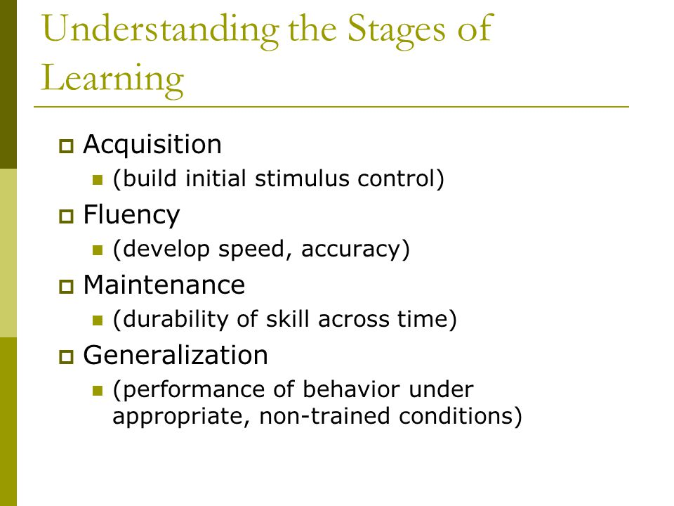 Understanding the Stages of Learning