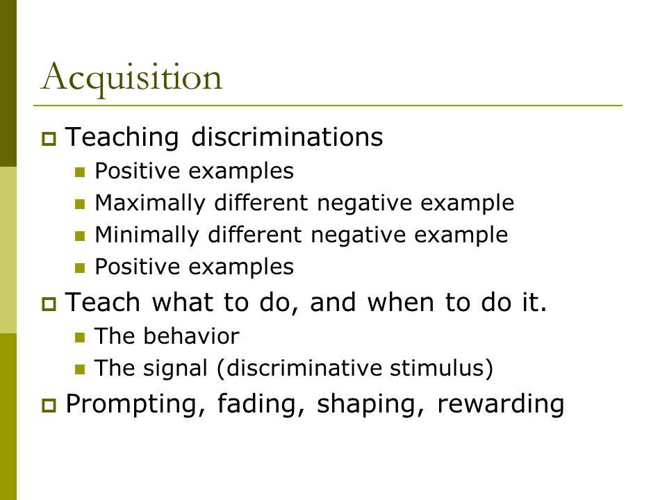 Acquisition Teaching discriminations