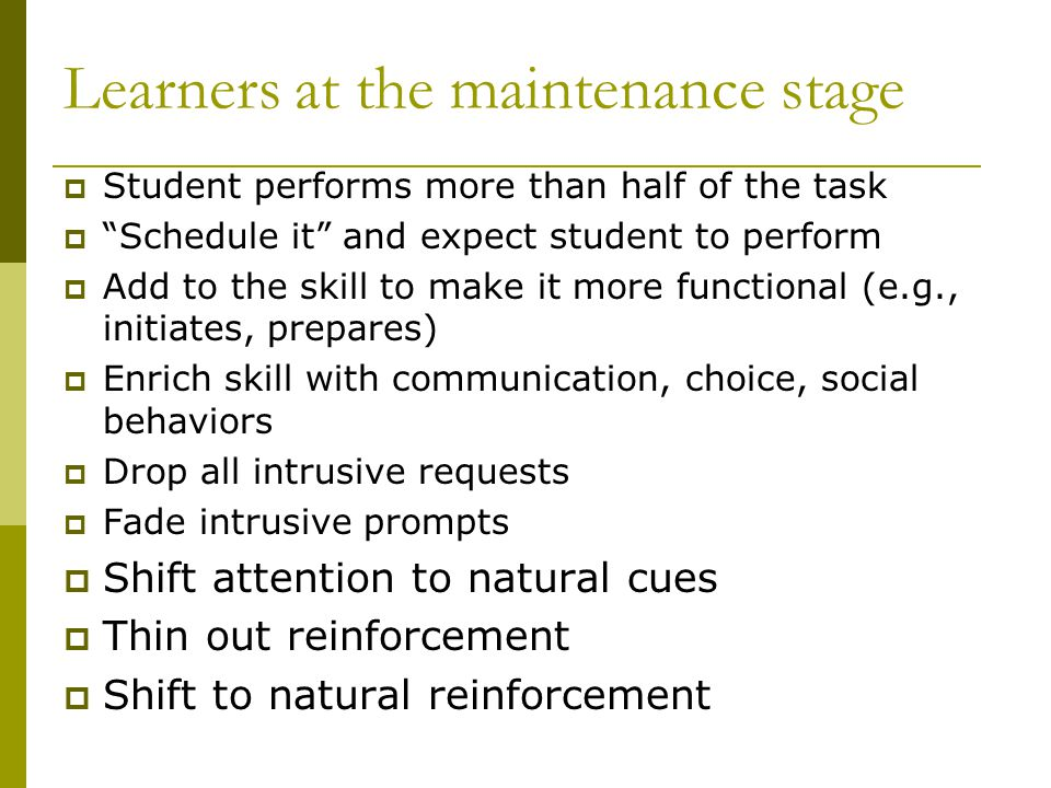 Learners at the maintenance stage