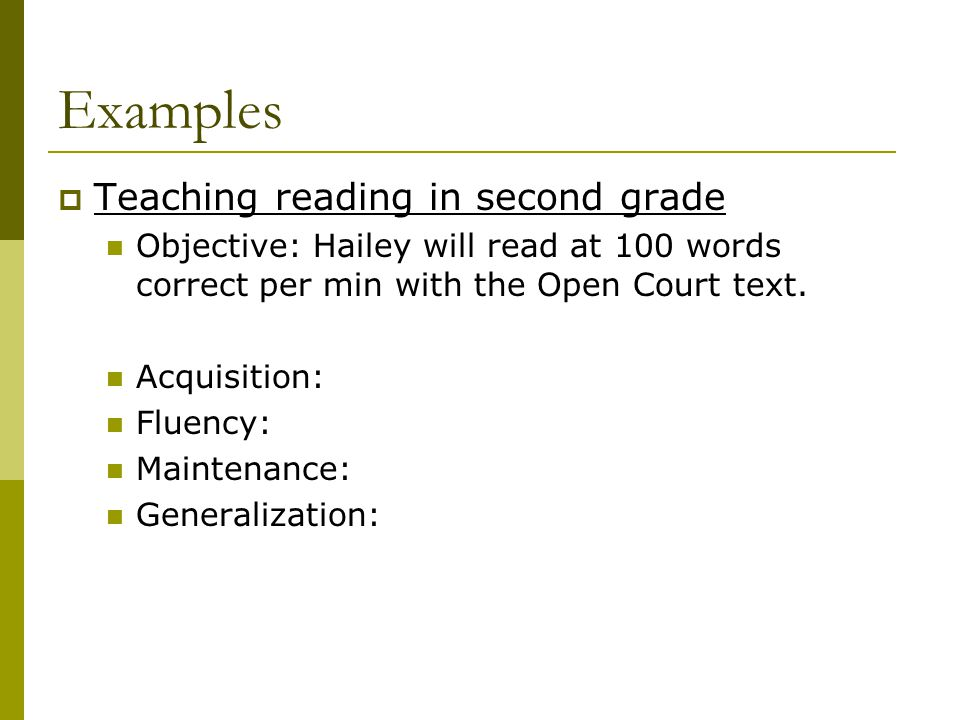 Examples Teaching reading in second grade