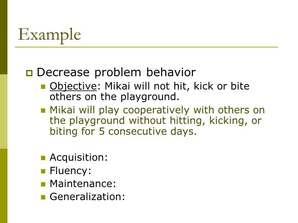 Example Decrease problem behavior