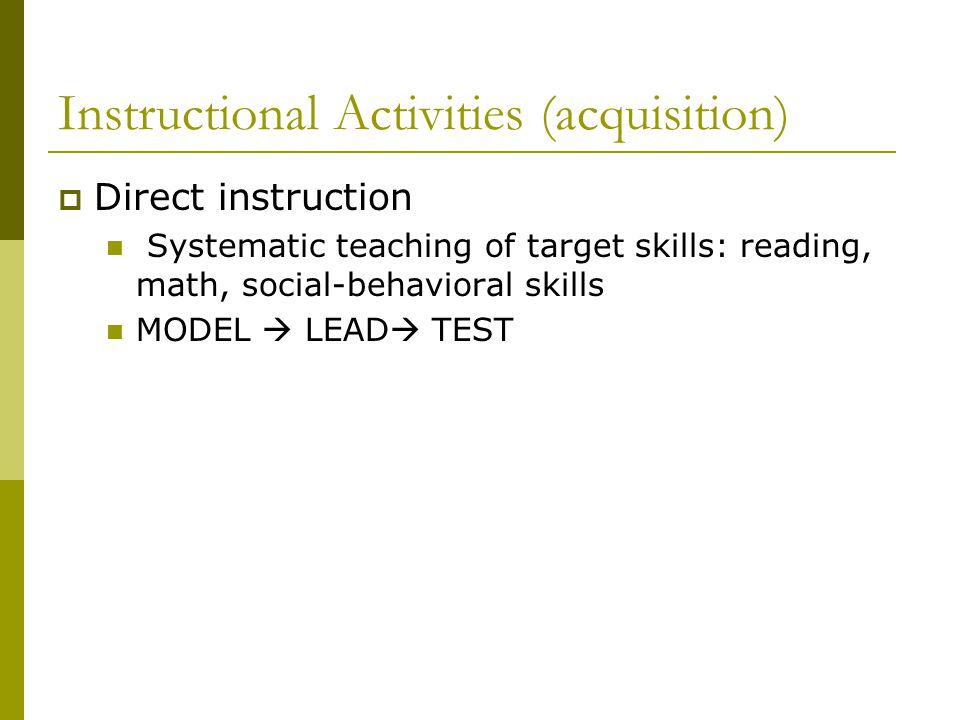 Instructional Activities (acquisition)