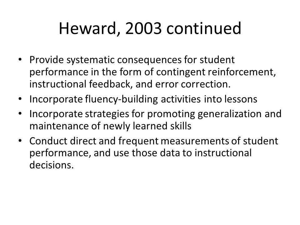 Heward, 2003 continued