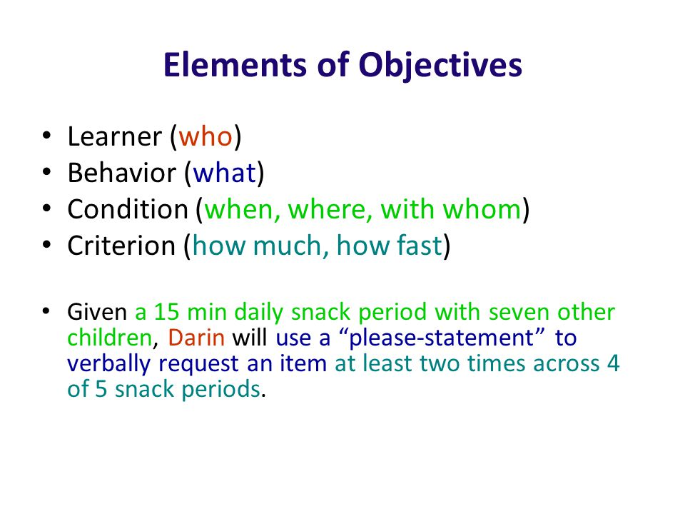 Elements of Objectives