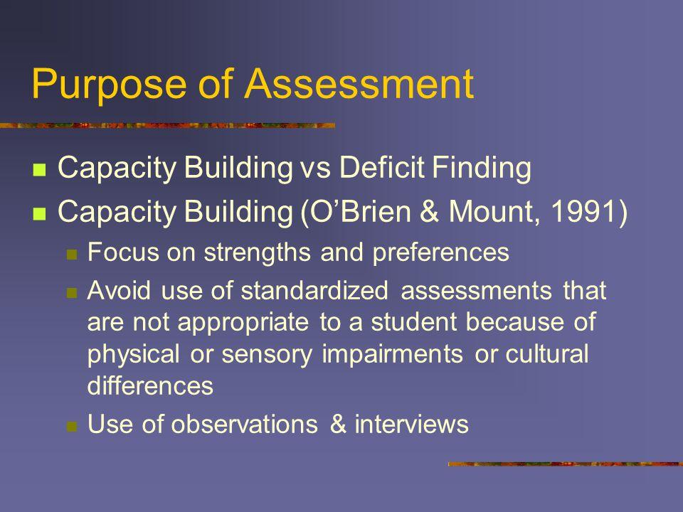 Purpose of Assessment Capacity Building vs Deficit Finding