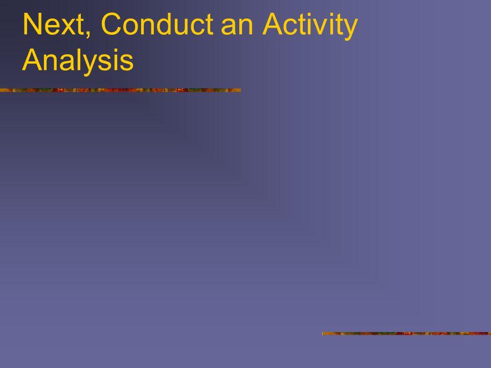 Next, Conduct an Activity Analysis