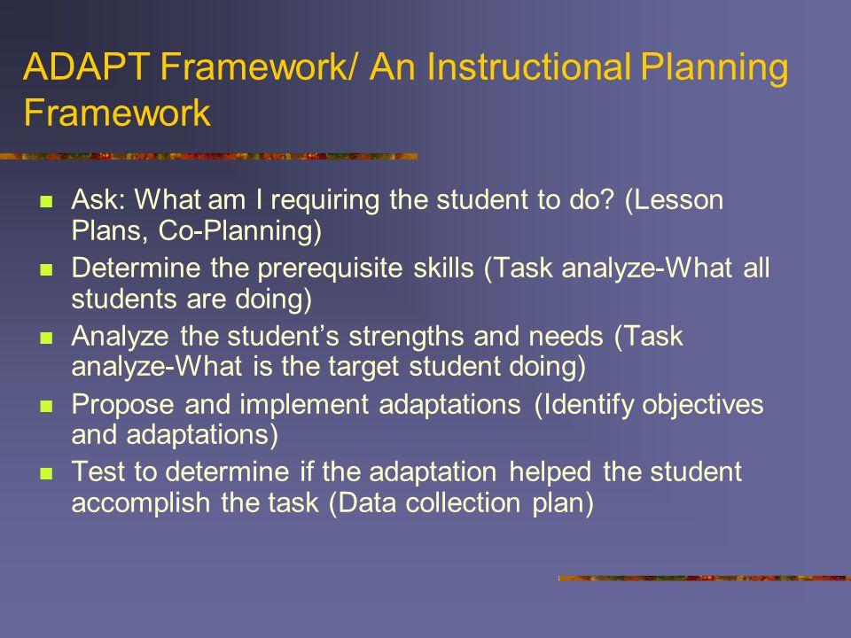 ADAPT Framework/ An Instructional Planning Framework