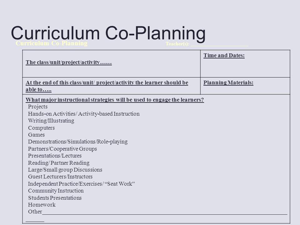 Curriculum Co-Planning