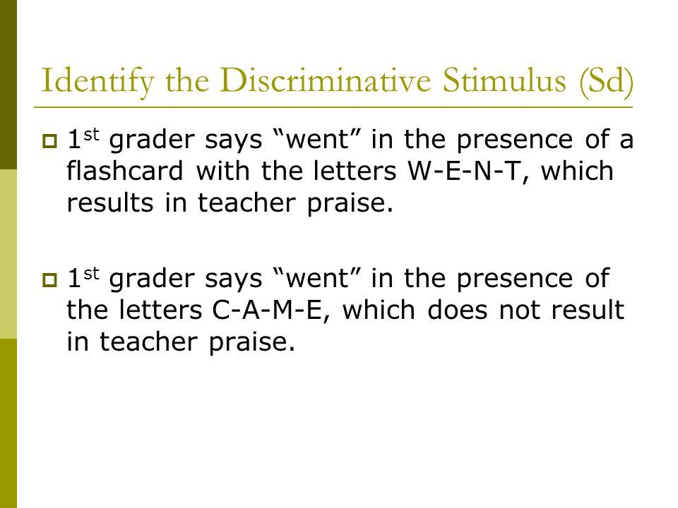 Identify the Discriminative Stimulus (Sd)