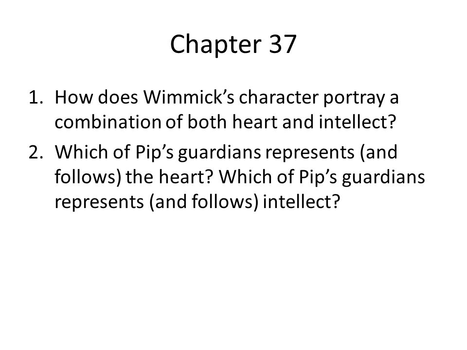 Chapter 37 How does Wimmick's character portray a combination of both heart and intellect