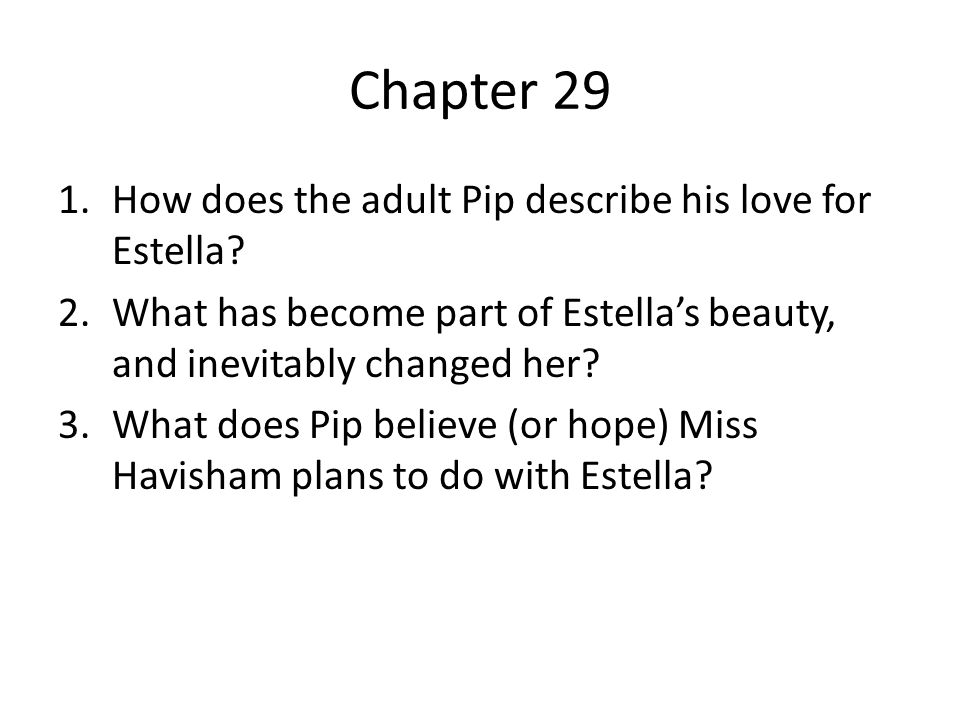 Chapter 29 How does the adult Pip describe his love for Estella