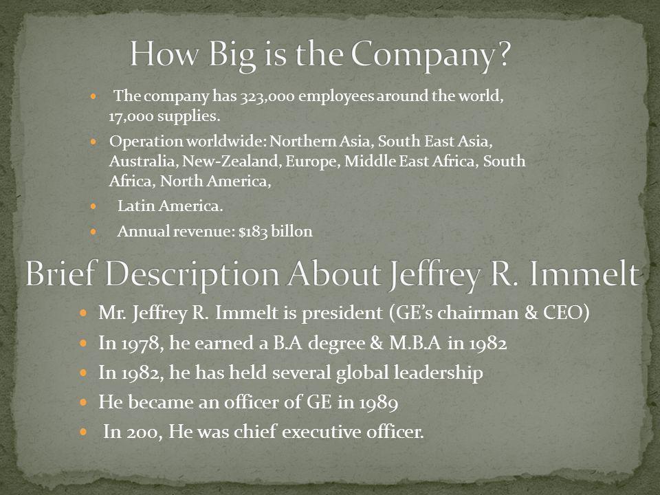 Brief Description About Jeffrey R. Immelt