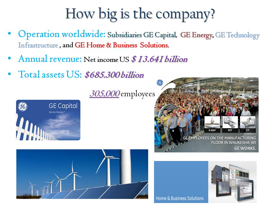 How big is the company Operation worldwide: Subsidiaries GE Capital, GE Energy, GE Technology Infrastructure , and GE Home & Business Solutions.
