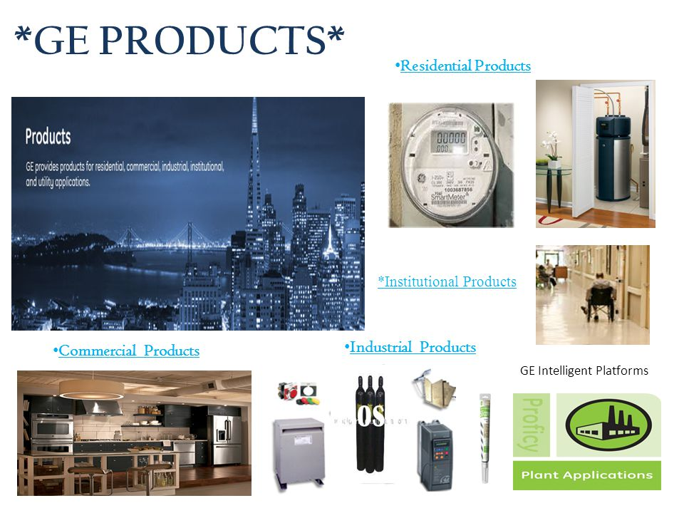 *GE PRODUCTS* Residential Products Industrial Products