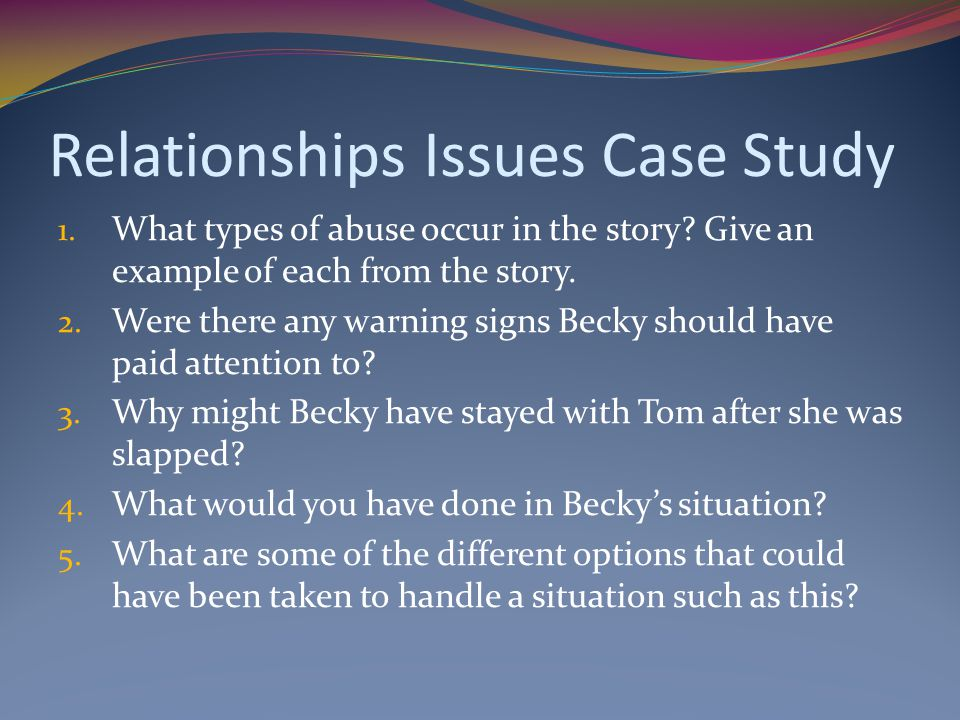 Relationships Issues Case Study