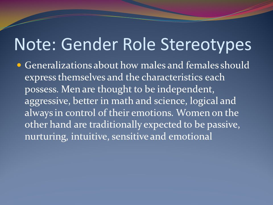 Note: Gender Role Stereotypes