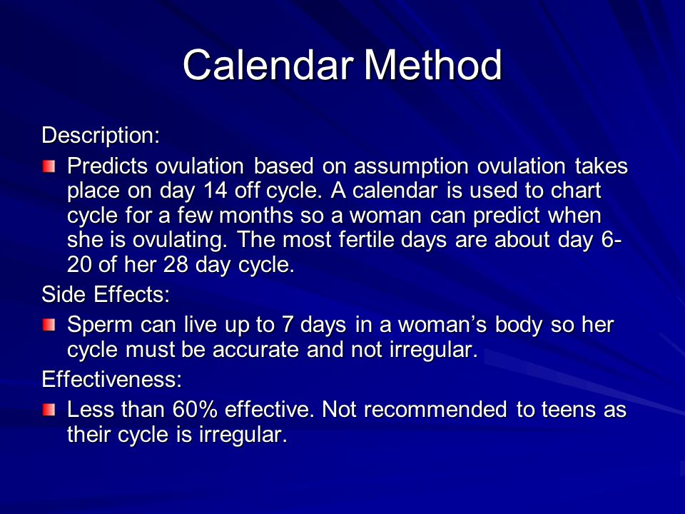 Calendar Method Description: