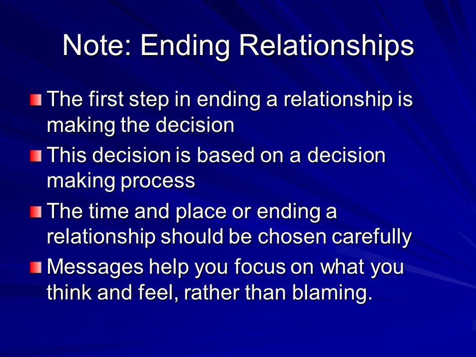 Note: Ending Relationships