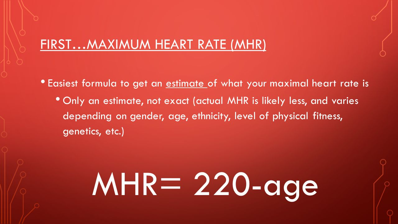 First…Maximum Heart Rate (MHR)