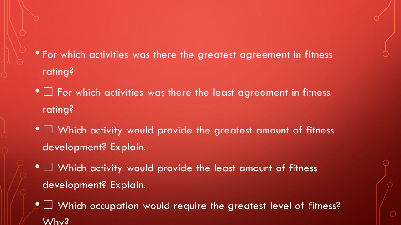 For which activities was there the greatest agreement in fitness rating