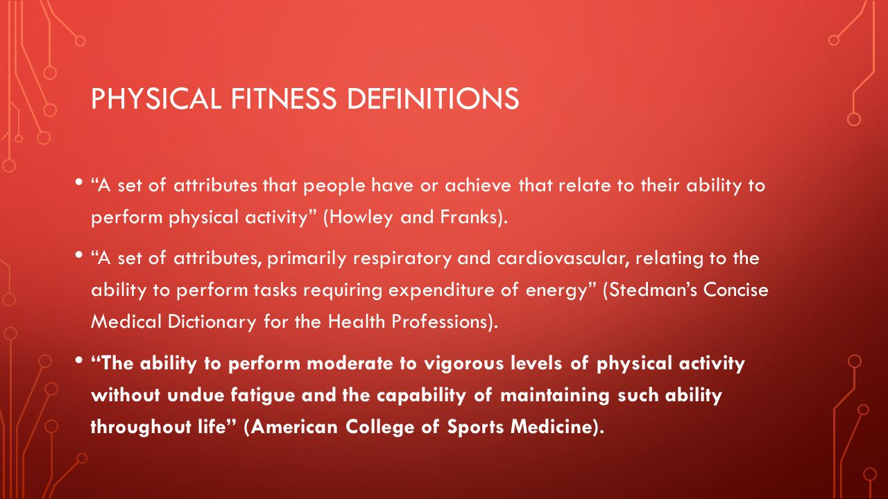 Physical fitness definitions