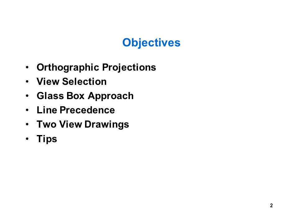 Objectives Orthographic Projections View Selection Glass Box Approach