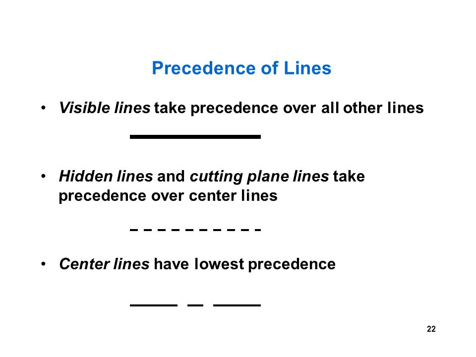 Precedence of Lines Visible lines take precedence over all other lines