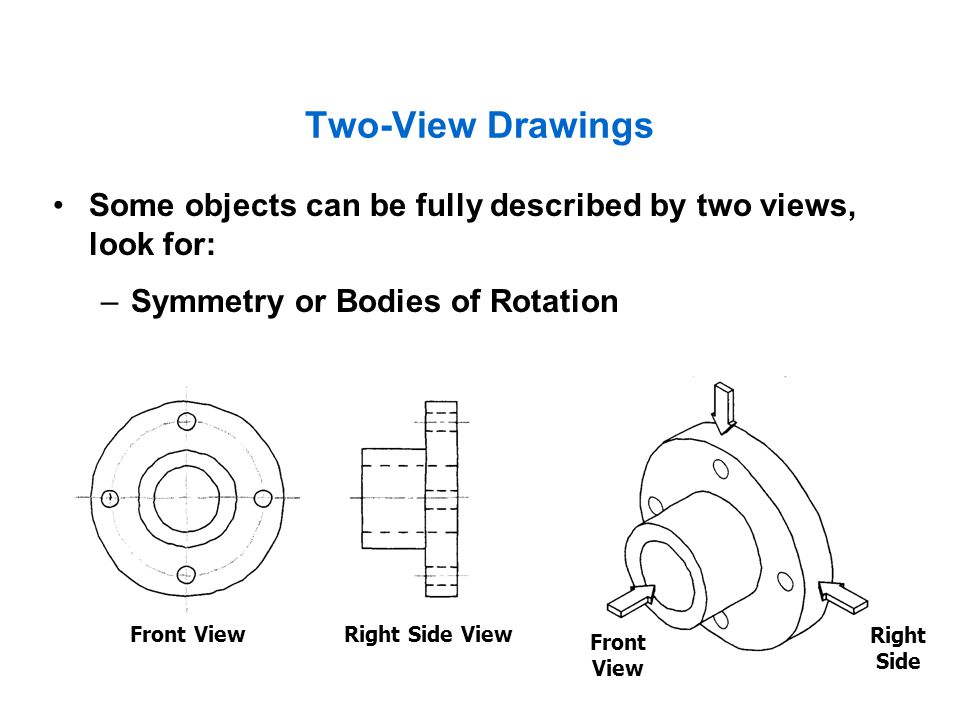 Two-View Drawings Some objects can be fully described by two views, look for: Symmetry or Bodies of Rotation.
