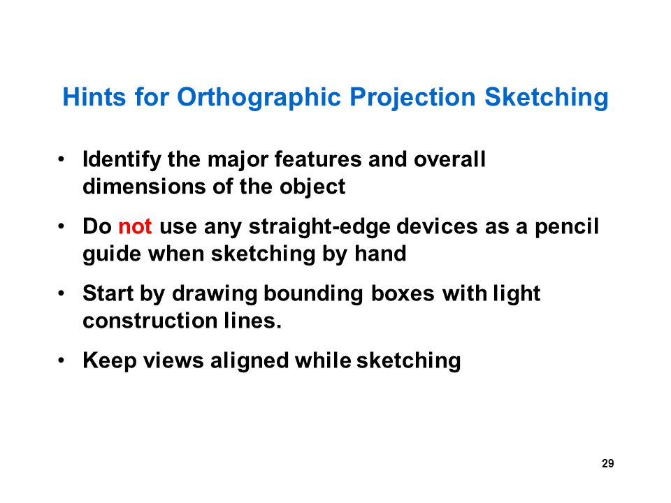 Hints for Orthographic Projection Sketching