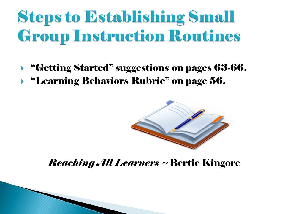 Steps to Establishing Small Group Instruction Routines