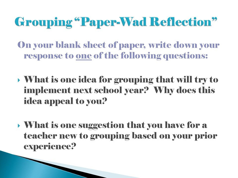 Grouping Paper-Wad Reflection