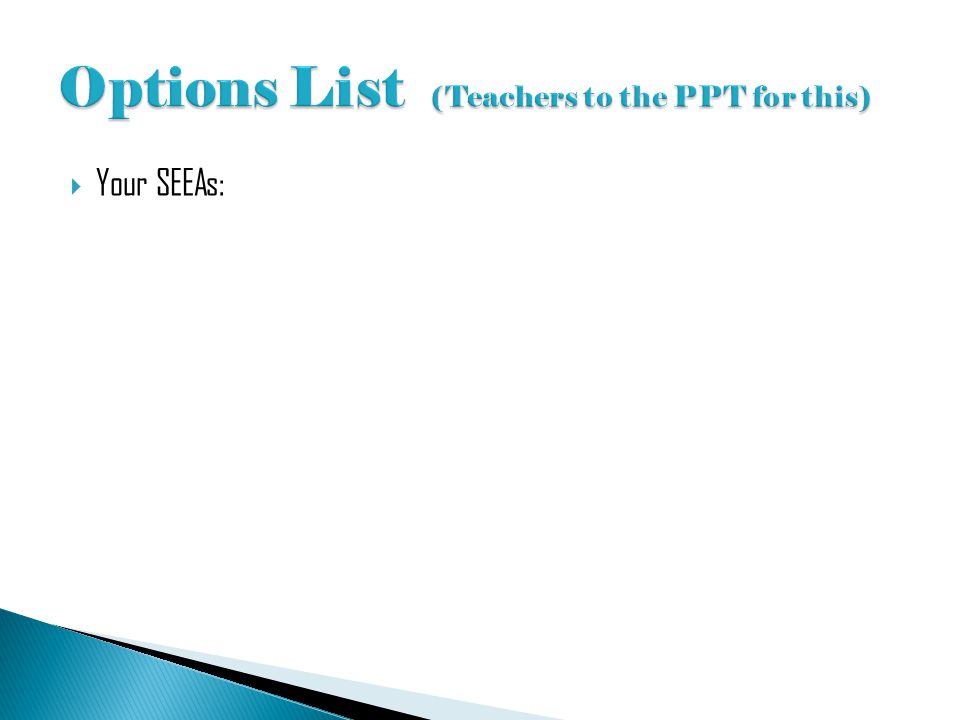 Options List (Teachers to the PPT for this)