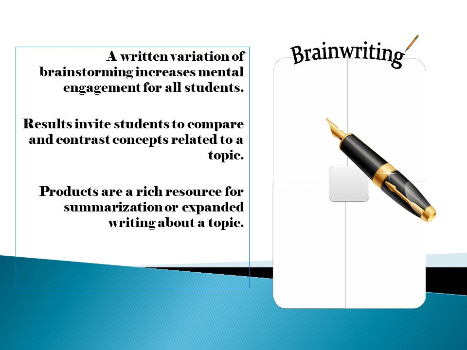 A written variation of brainstorming increases mental engagement for all students.