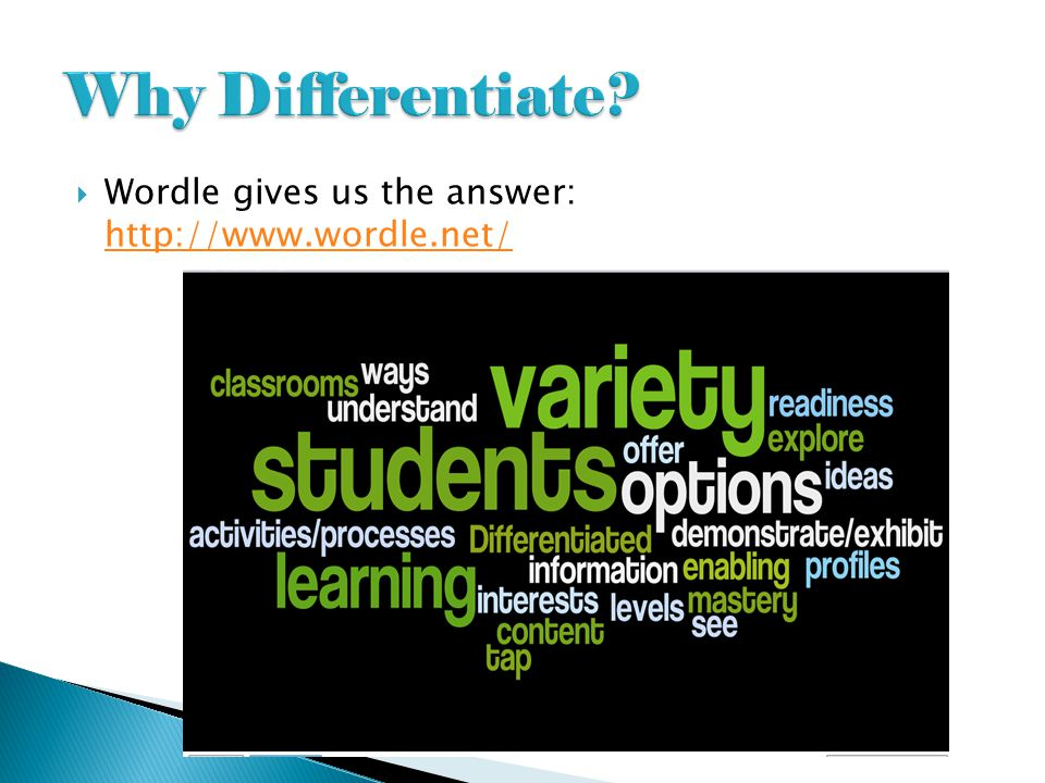 Why Differentiate Wordle gives us the answer: http://www.wordle.net/