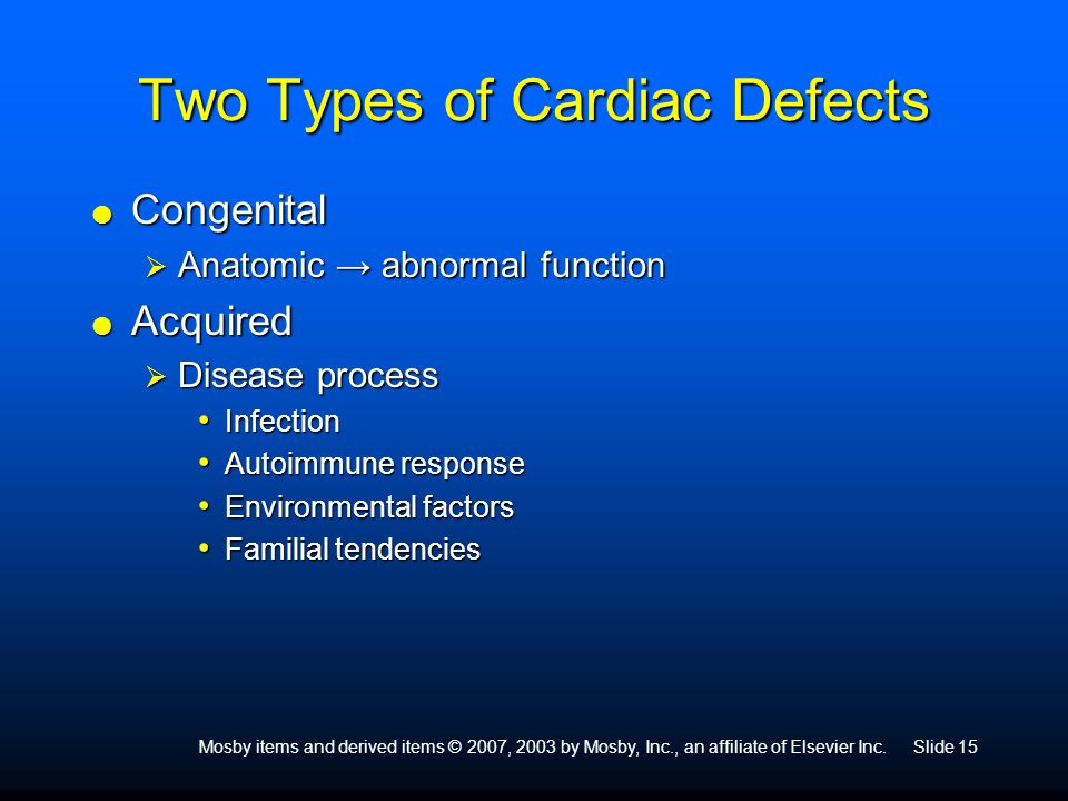 Two Types of Cardiac Defects