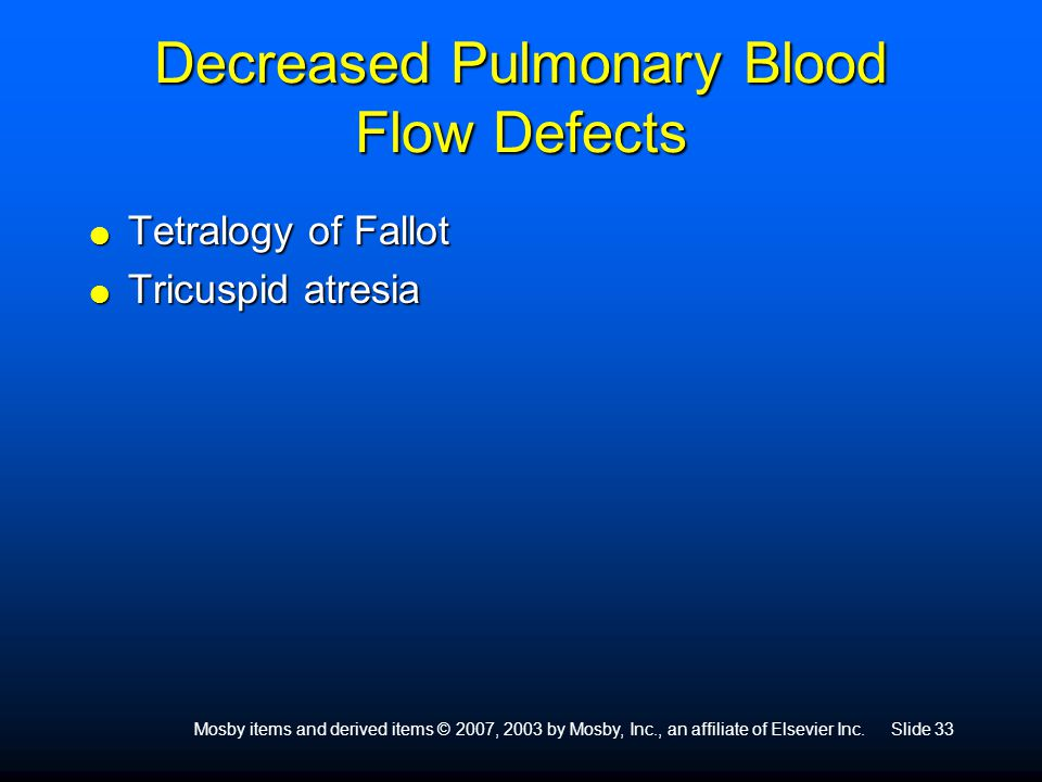 Decreased Pulmonary Blood Flow Defects