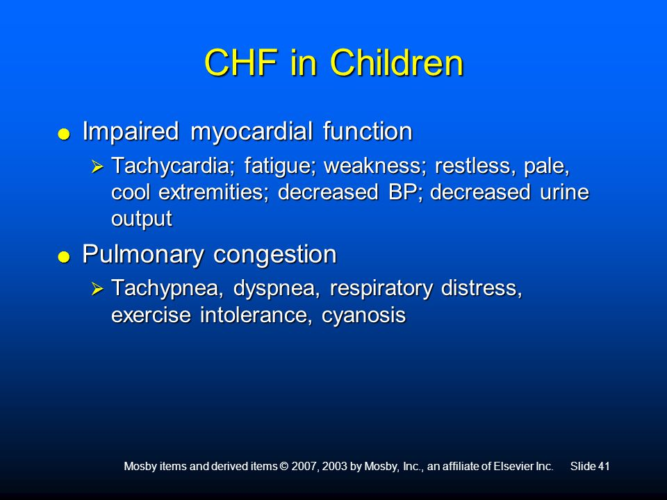 CHF in Children Impaired myocardial function Pulmonary congestion