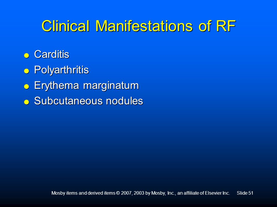 Clinical Manifestations of RF