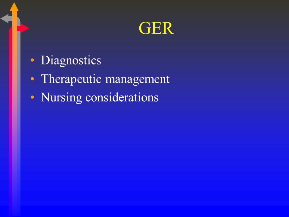 GER Diagnostics Therapeutic management Nursing considerations