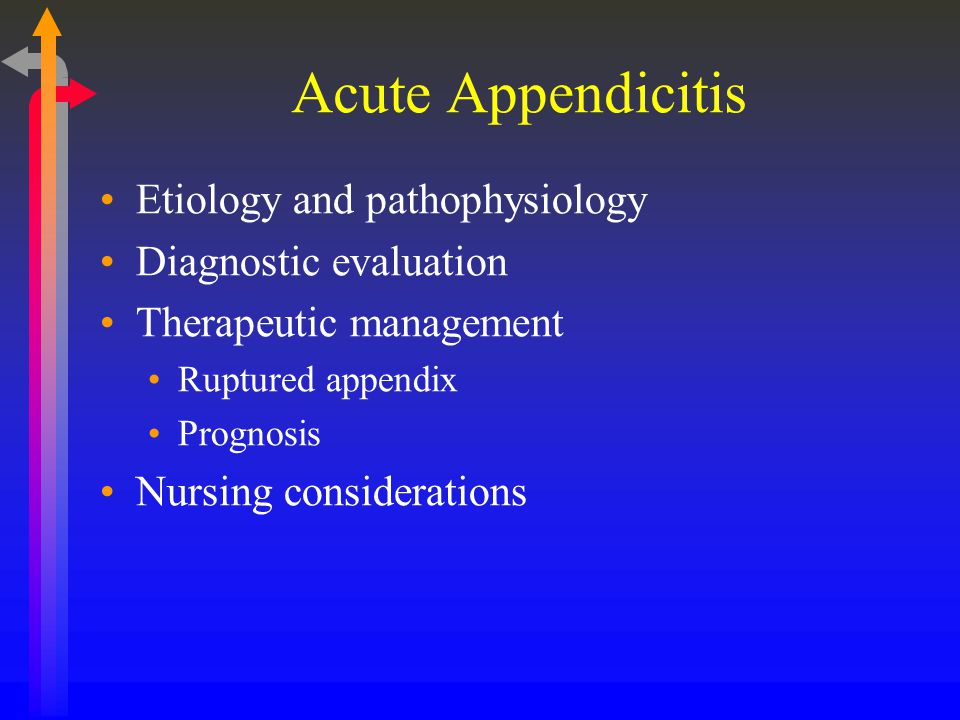 Acute Appendicitis Etiology and pathophysiology Diagnostic evaluation