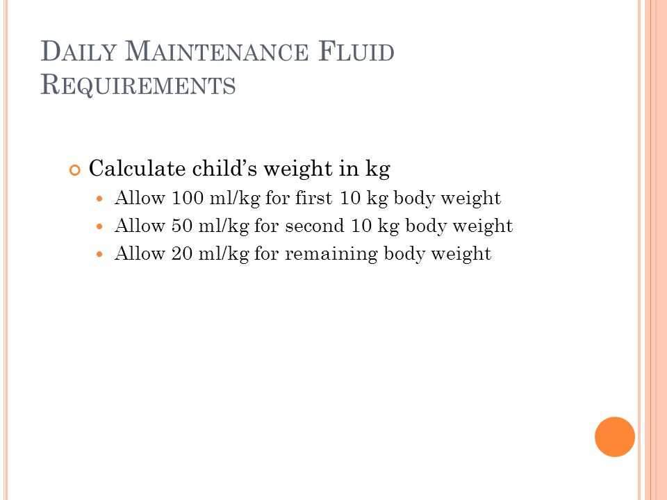 Daily Maintenance Fluid Requirements
