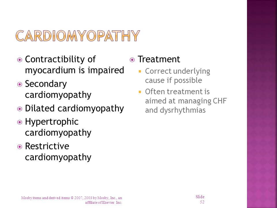 Cardiomyopathy Contractibility of myocardium is impaired